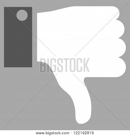 Thumb Down vector icon. Picture style is bicolor flat thumb down icon drawn with dark gray and white colors on a silver background.