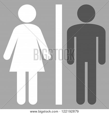 WC Persons vector icon. Picture style is bicolor flat WC persons icon drawn with dark gray and white colors on a silver background.