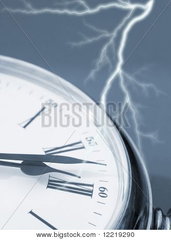 Close-up of clock face overlaid with lightning effect