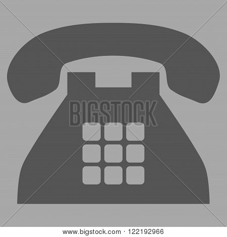 Tone Phone vector icon. Picture style is flat tone phone icon drawn with dark gray color on a silver background.