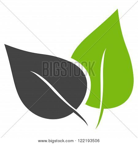 Flora Plant vector icon. Picture style is bicolor flat flora plant icon drawn with eco green and gray colors on a white background.