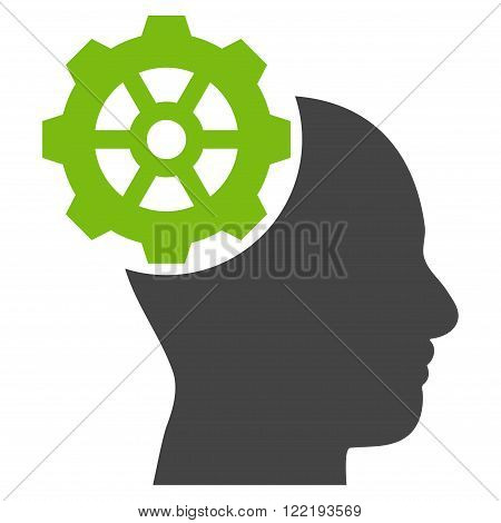 Head Gear vector icon. Picture style is bicolor flat head gear icon drawn with eco green and gray colors on a white background.