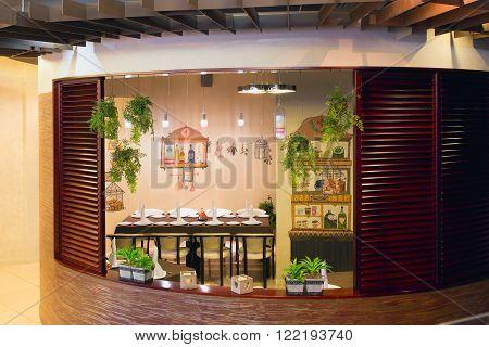 GRODNO BELARUS - MART 14: Italian courtyard inside the cafe on Mart 14 2016 in Panorama cafe Grodno Belarus