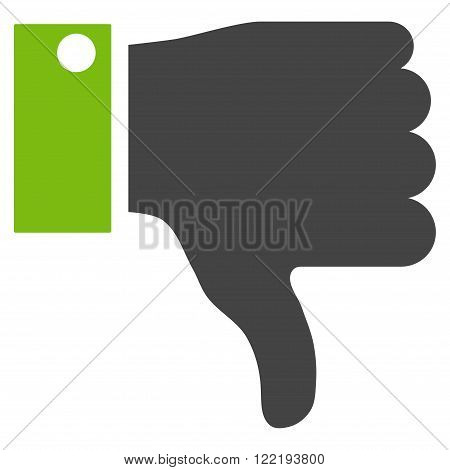 Thumb Down vector icon. Picture style is bicolor flat thumb down icon drawn with eco green and gray colors on a white background.