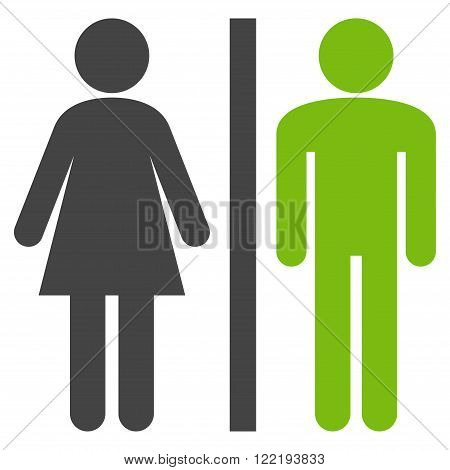 WC Persons vector icon. Picture style is bicolor flat WC persons icon drawn with eco green and gray colors on a white background.