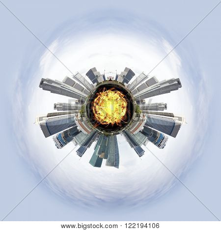 Overpopulated Tiny little planet with skyscrapers and magma core under surface.