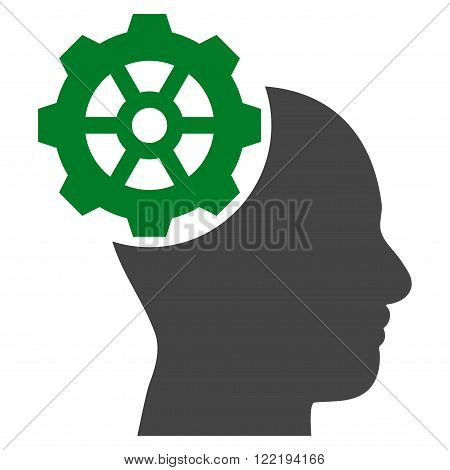 Head Gear vector icon. Picture style is bicolor flat head gear icon drawn with green and gray colors on a white background.