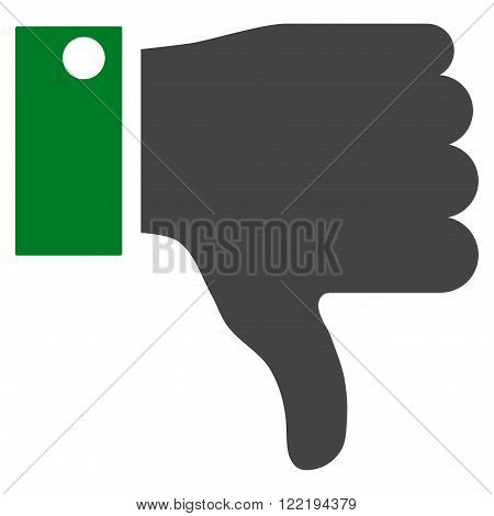 Thumb Down vector icon. Picture style is bicolor flat thumb down icon drawn with green and gray colors on a white background.