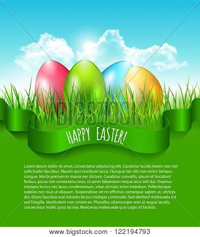 Easter Background With Eggs In Grass And Blue Sky With Clouds And Place Fot Your Text.