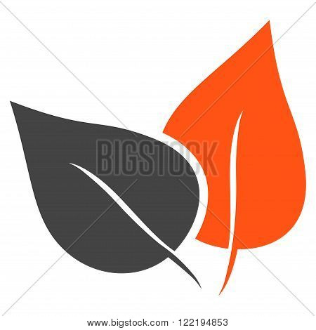 Flora Plant vector icon. Picture style is bicolor flat flora plant icon drawn with orange and gray colors on a white background.