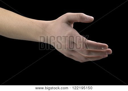 Hand gestures outstretched hand on a black background