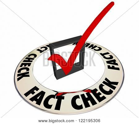Fact Check Verify Accurate Information Box Mark 3d Words