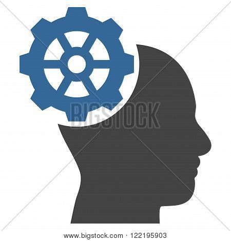 Head Gear vector icon. Picture style is bicolor flat head gear icon drawn with cobalt and gray colors on a white background.