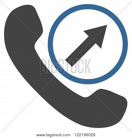 Outgoing Call vector icon. Picture style is bicolor flat outgoing call icon drawn with cobalt and gray colors on a white background.