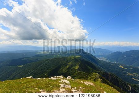 Panorama from Italian alps, top of a mountain, Cima Larici Asiago