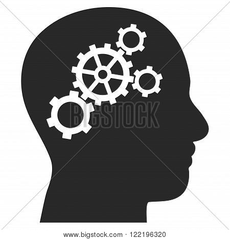 Brain Configuration vector icon. Picture style is flat brain gears icon drawn with gray color on a white background.
