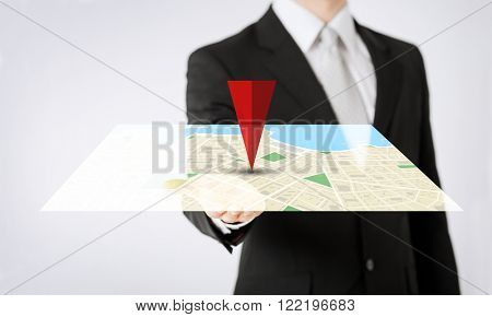 people, business, navigation, technology and location concept - close up of man hand showing gps navigator map projection