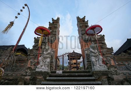 The Pura Padang Kerta Temple entrance in Ubud town, Bali Island.
