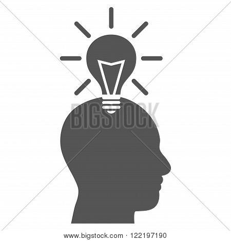 Genius Bulb vector icon. Picture style is flat genius bulb icon drawn with gray color on a white background.