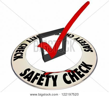 Safety Check Box Mark Inspection Security Review Approval 3d Word