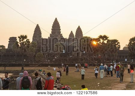 Angkor Wat, Siem Reap, Cambodia - Februaty 10, 2015 :: Beautiful orange sunrise in Angkor Wat, Siem Reap Cambodia