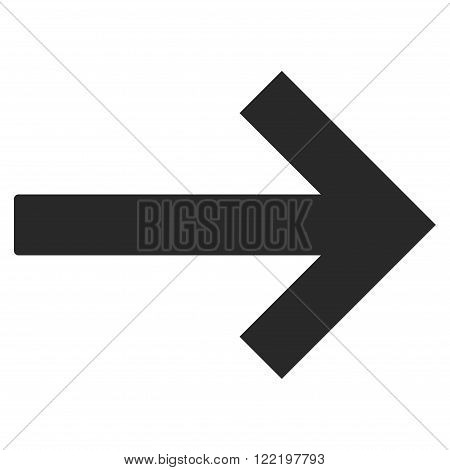 Right Arrow vector icon. Picture style is flat right arrow icon drawn with gray color on a white background.