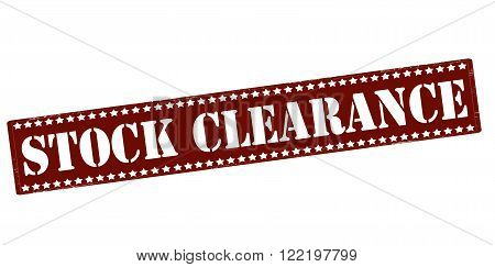 Rubber stamp with text stock clearance inside vector illustration