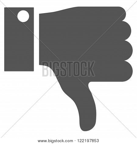 Thumb Down vector icon. Picture style is flat thumb down icon drawn with gray color on a white background.