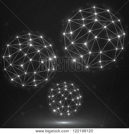 Abstract polygonal sphere network connections. Futuristic technology style. Vector illustration. Eps 10