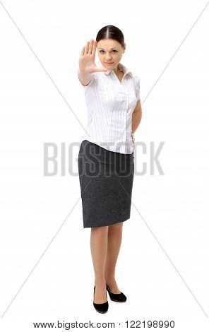 portrait of single-minded business women on a white background