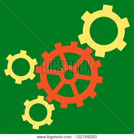 Mechanism vector icon. Picture style is bicolor flat mechanism icon drawn with orange and yellow colors on a green background.