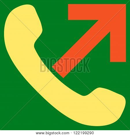 Outgoing Call vector icon. Picture style is bicolor flat outgoing call icon drawn with orange and yellow colors on a green background.