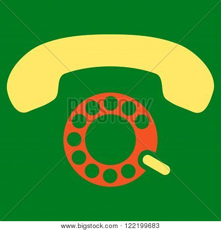 Pulse Dialing vector icon. Picture style is bicolor flat pulse dialing icon drawn with orange and yellow colors on a green background.