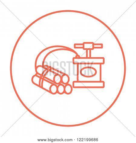 Dynamite and detonator line icon.