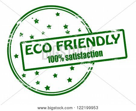 Rubber stamp with text eco friendly inside vector illustration