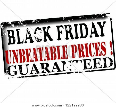 Rubber stamp with text black friday unbeatable prices guaranteed inside vector illustration
