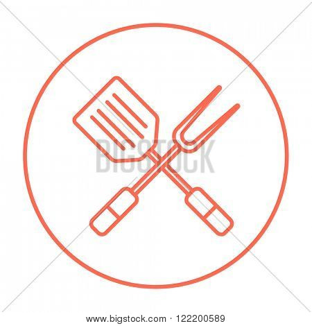 Kitchen spatula and big fork line icon.