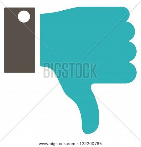 Thumb Down vector icon. Picture style is bicolor flat thumb down icon drawn with grey and cyan colors on a white background.