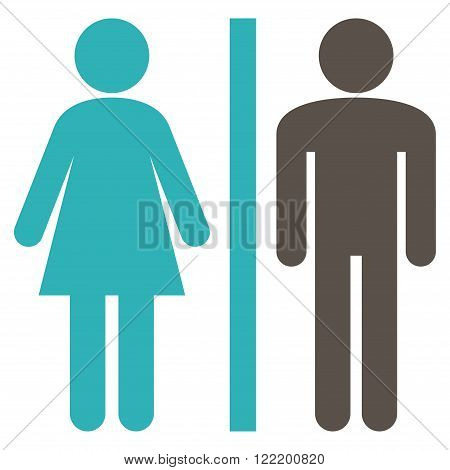 Restroom Persons vector icon. Picture style is bicolor flat WC persons icon drawn with grey and cyan colors on a white background.