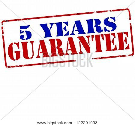 Rubber stamp with text five years guarantee inside vector illustration