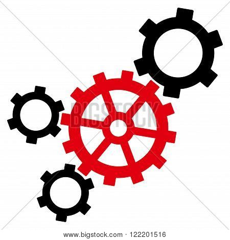 Mechanism vector icon. Picture style is bicolor flat mechanism icon drawn with intensive red and black colors on a white background.