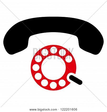 Pulse Dialing vector icon. Picture style is bicolor flat pulse dialing icon drawn with intensive red and black colors on a white background.