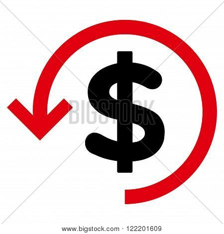 Refund vector icon. Picture style is bicolor flat refund icon drawn with intensive red and black colors on a white background.