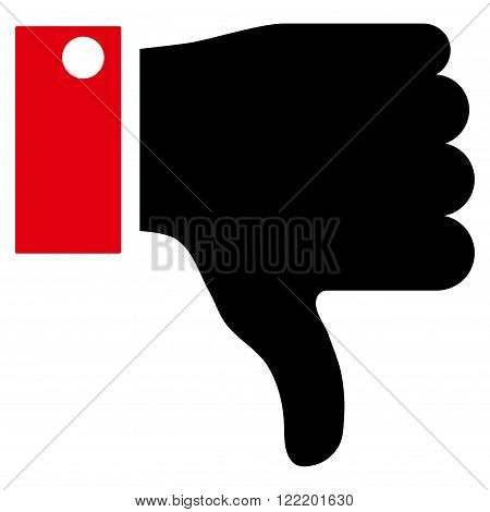 Thumb Down vector icon. Picture style is bicolor flat thumb down icon drawn with intensive red and black colors on a white background.
