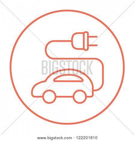 Electric car line icon.
