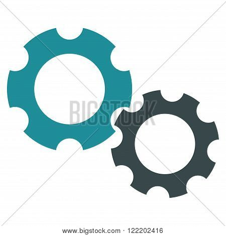 Preferences vector icon. Picture style is bicolor flat gears icon drawn with soft blue colors on a white background.