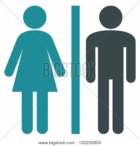 Lavatory Persons vector icon. Picture style is bicolor flat WC persons icon drawn with soft blue colors on a white background.