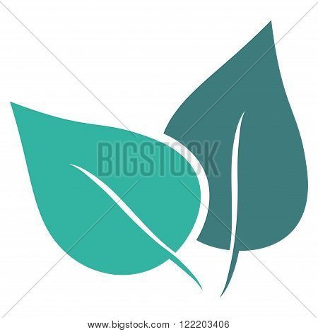 Flora Plant vector icon. Picture style is bicolor flat flora plant icon drawn with cobalt and cyan colors on a white background.