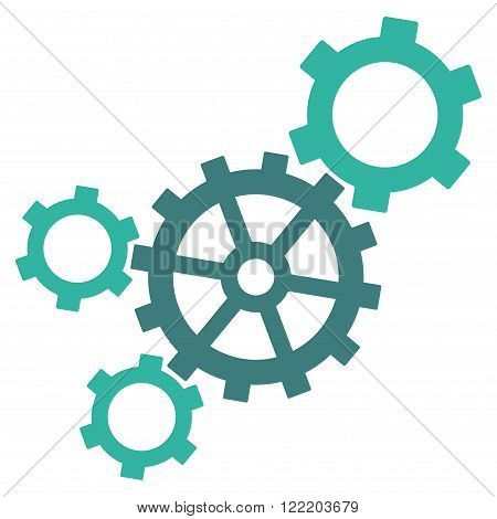 Mechanism vector icon. Picture style is bicolor flat mechanism icon drawn with cobalt and cyan colors on a white background.