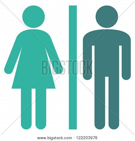 WC Persons vector icon. Picture style is bicolor flat WC persons icon drawn with cobalt and cyan colors on a white background.